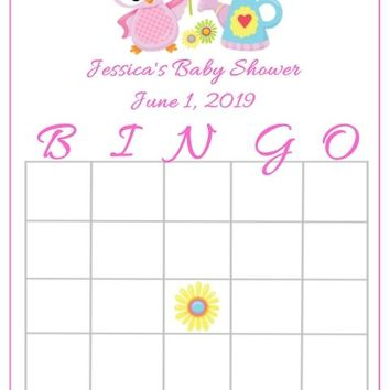 10 Pink Owl Baby Shower Bingo Cards