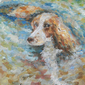 Custom Dog Portrait Oil Painting On the hunt Original Pastel Pet Cocker Spaniel Living room Decor Animal Handmade Russian Artis Art