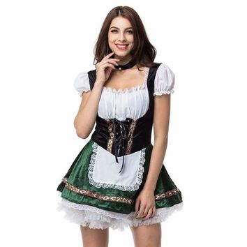 White Green Oktoberfest German Maid Fancy Dress Cosplay Beer Girl Costume Sexy Halloween Costumes For Women Deguisement Adultes