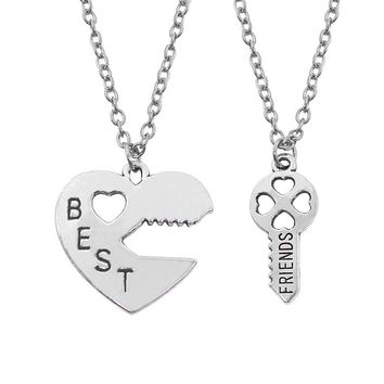 2 Pcs/Set Best Friend Necklaces Key To The Heart Silver tone Pendant Necklaces Lock And Key Best Friend Bff Necklace Split DIY