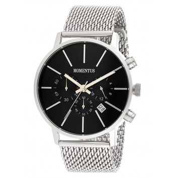 Momentus FD239S-04SS Men's Functional Dress Black Dial Chronograph Steel Mash Bracelet Watch