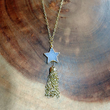 Light Purple Star Druzy, Graduation Gift, 14 kg. Mother's Day Gift, Gemstone Necklace, Gold Charm Necklace, Womens Jewelry, 20 Inch Necklace