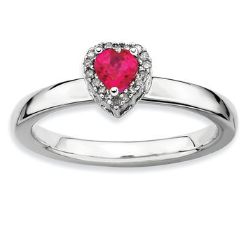 Sterling Silver Stackable Expressions Cr. Ruby Heart Diamond Ring