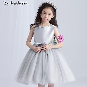 2017 Cheap Silver Grey Flower Girl Dresses for Weddings Princess Pageant Dress for Girls Glitz Kids Prom Dresses Darlingoddess