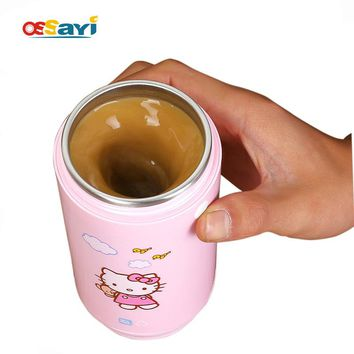 Hot Sale Self Stirring Hello Kitty Mug Electric Coffee Cup Smart Cans Mugs Automatic Electric Coffee Cups Mugs Mixing Coffee Cup