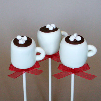 12 Hot Chocolate or Coffee Mug Cake Pops - for Winter wedding, Starbucks coffee snob, Frozen party favor, hostess, teacher appreciation gift
