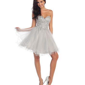 Silver Short Strapless Beaded Sweetheart Dress 2015 Homecoming Dresses