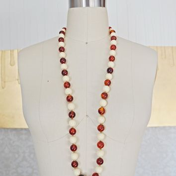 Vintage 1970s Amber + Beaded Necklace