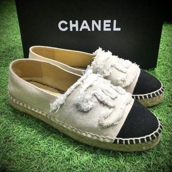 Fashion Chanel Logo Canvas White Grey Espadrilles Flats Stitched Slip On Shoe - Beauty Ticks