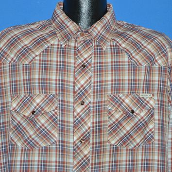80s Roebucks Brown Plaid Western Shirt Extra Large