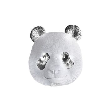 The Master Po | Panda Bear Head | Faux Taxidermy | White + Silver Resin