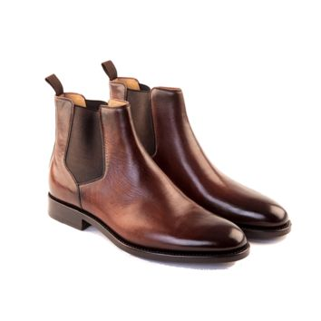 Italo - Chelsea Mens' Handmade Boot In Walnut Calf Leather - Free Shipping