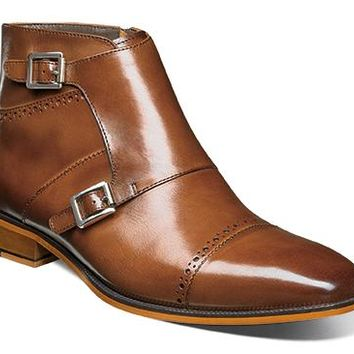 Kason Cap Toe Double Monk Strap Side Zipper Boot
