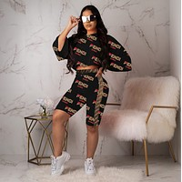 FENDI New Fashion Women Personality Print Long Sleeve Top Shorts Set Two-Piece