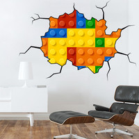Lego Wall Sticker, decal - Kids-Rooms-Nursery-Wall-Decal - Photorealistic Lego Wall Sticker - Wall Decals , Home WallArt Decals