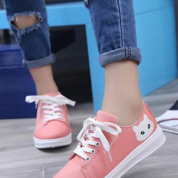 Pink Round Toe Flat Cat Print Casual Shoes