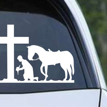 Cowboy Praying with Horse and Cross Christian Die Cut Vinyl Decal Sticker