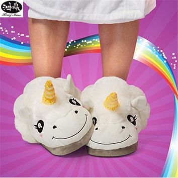Hongmiao Unicorn Kids Slippers Winter Warm Cartoon For Boys Girls Plush Family Slippers Mother Daughter pantufas de pelucia