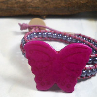 Butterfly Bracelet Beaded Wrap Bracelet Purple Butterfly