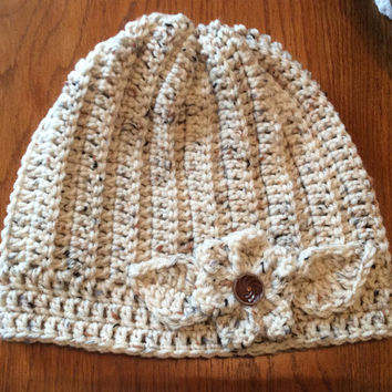 Lady's winter hat, hand crochet, snow hat, beanie, crochet flower hat, off white Aran fleck color