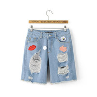 Summer Women's Fashion Korean Cartoons Pants Jeans [4919998340]