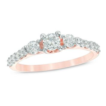3/4 CT. T.W. Diamond Three Stone Engagement Ring in 14K Rose Gold