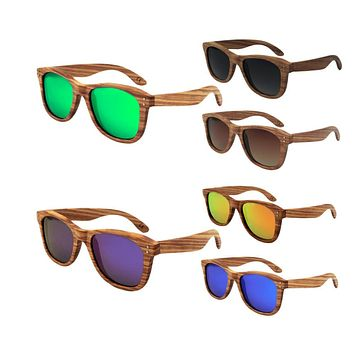 Popular Unisex Vintage Bamboo Frame Polarized Sunglasses Wooden Sunglasses With Blue/Green/Orange/Gray/Purple/Maroon Color Hot