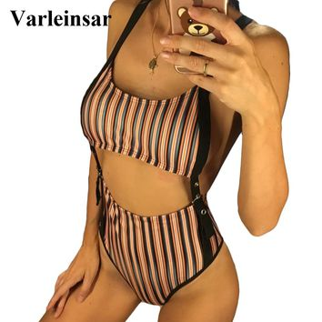 4 Colors 2018 Tummy Cut Out Women Swimwear High Waist One Piece Swimsuit Female Bather Striped Bathing Suit Swim Wear Lady V837