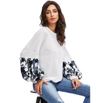 Faux Fur Panel Exaggerate Lantern Sleeve Pullovers