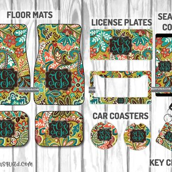 Vera Bradley Provincial Car Mat /Plate & Frame / Seat belt cover / Key Chain / Car Coaster / Car Accessory Gift  Set