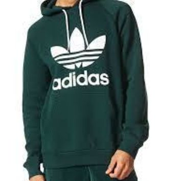 KUYOU Adidas Originals Men's Trefoil Hoodie (Green/White)