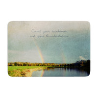 "Robin Dickinson ""Count Rainbows"" Nature Typography Memory Foam Bath Mat"