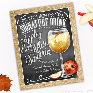 Fall Wedding Decoration | Signature Drink Sign | Chalk Style Personalized Rustic Wedding Keepsake - Appley Ever After Sangria Cocktail Sign