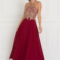 Burgundy long prom dress GLS 1526