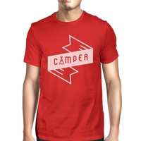 Camper Men's Red Crew Neck T-Shirt Simple Design Gifts For Friends