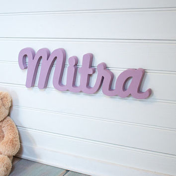 Baby Name Plaque Small Personalized nursery name in lilac purple baby name door hanging nursery decor wooden wall art