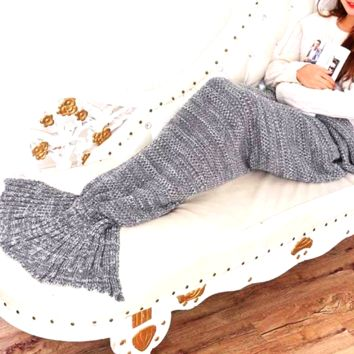 Grey Mermaid Blanket