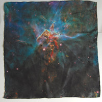 $65.00 Galaxy Nebula Print Silk Star Cluster Square by pillarsofcreation