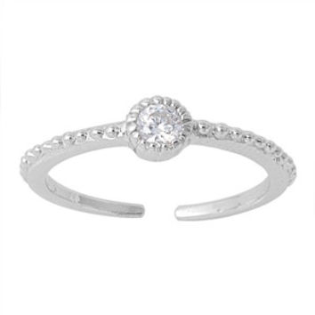 .925 Sterling Silver CZ Toe Ring