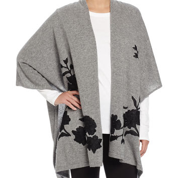 Cashmere Floral-Embroidered Shawl, Size: ONE SIZE,