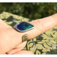 OOAK Tear drop Ring. Regulable size. Adjustable ring. Nickel silver. 100% handmade, suport artisan work!!! Custom colours and shapes.