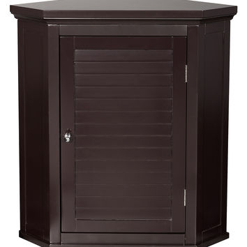 Elegant Home Fashions Slone Corner Wall Cabinet with 1 Shutter Door