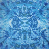 Tie dye tapestry in blues and greens
