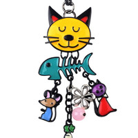 Colorful Cat Charm Necklace