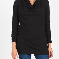 Cowl neck cotton knit top
