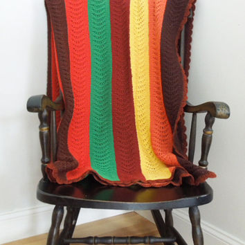 Large crocheted afghan throw blanket in brown orange yellow green chocolate - Crocheted blanket - Mothers day gift (Ready to ship)