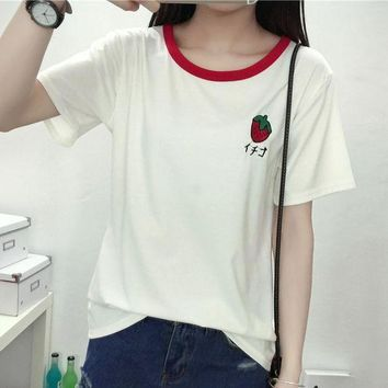 ESBON Fashion letters Strawberry Print t-shirts