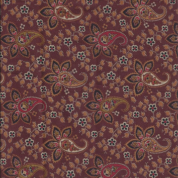 Five Eights Yard Cut of Cotton Quilting Batik Fabric in Brown Paisley Print, Jo Morton for Andover Fabrics