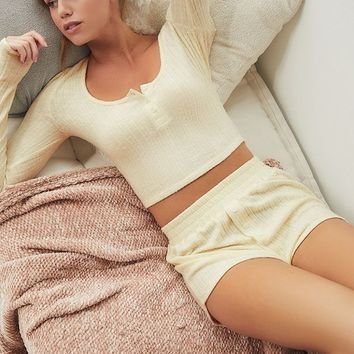 Out From Under Sophie Cropped Henley Top   Urban Outfitters