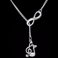 Infinity Treble Clef Eight Note Music Marching Band Musical Note Lariat Necklace